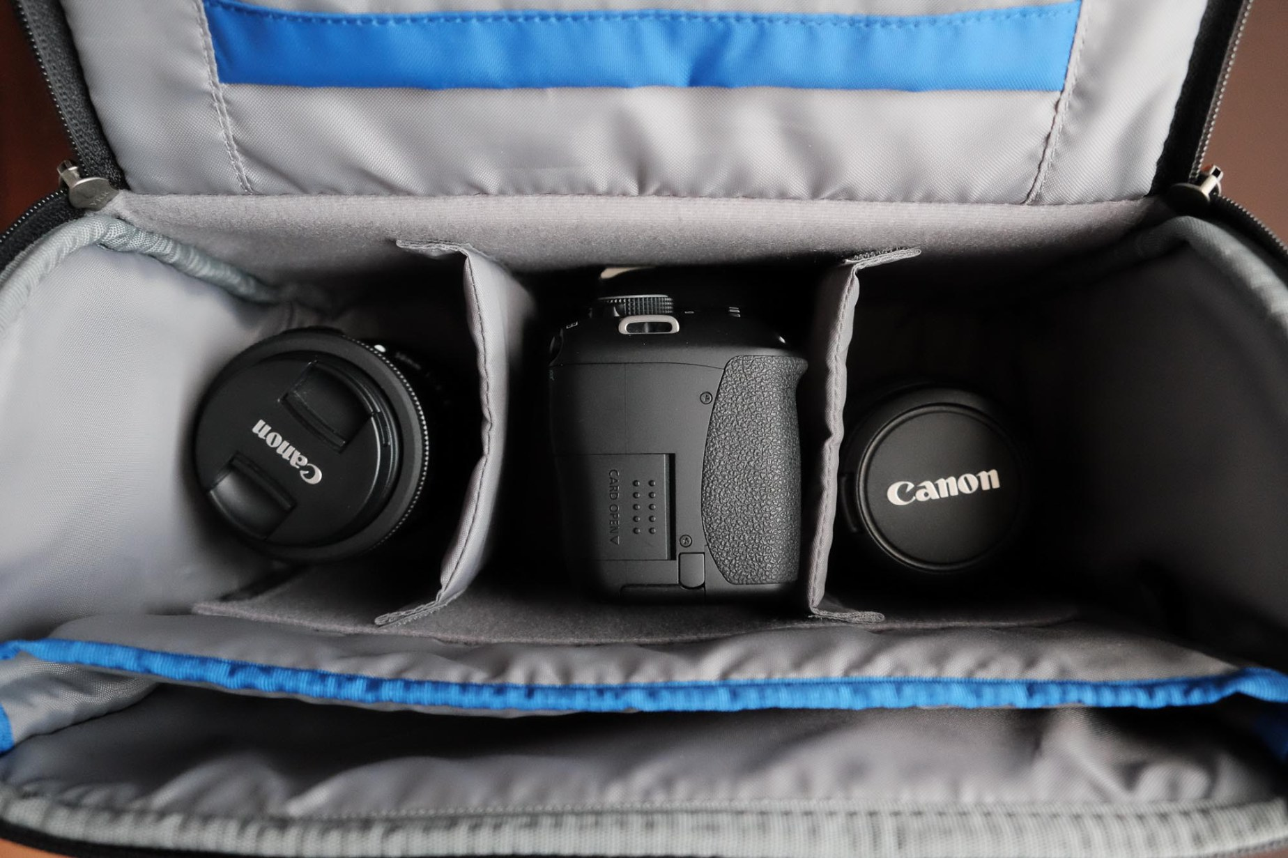 "My standard storage and ""gear hub"" setup: Canon 600D / EF-S 18-55mm / EF 50mm + EF-S 24mm."