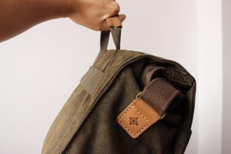 The Nat Geo handle makes the bag hang awkwardly.