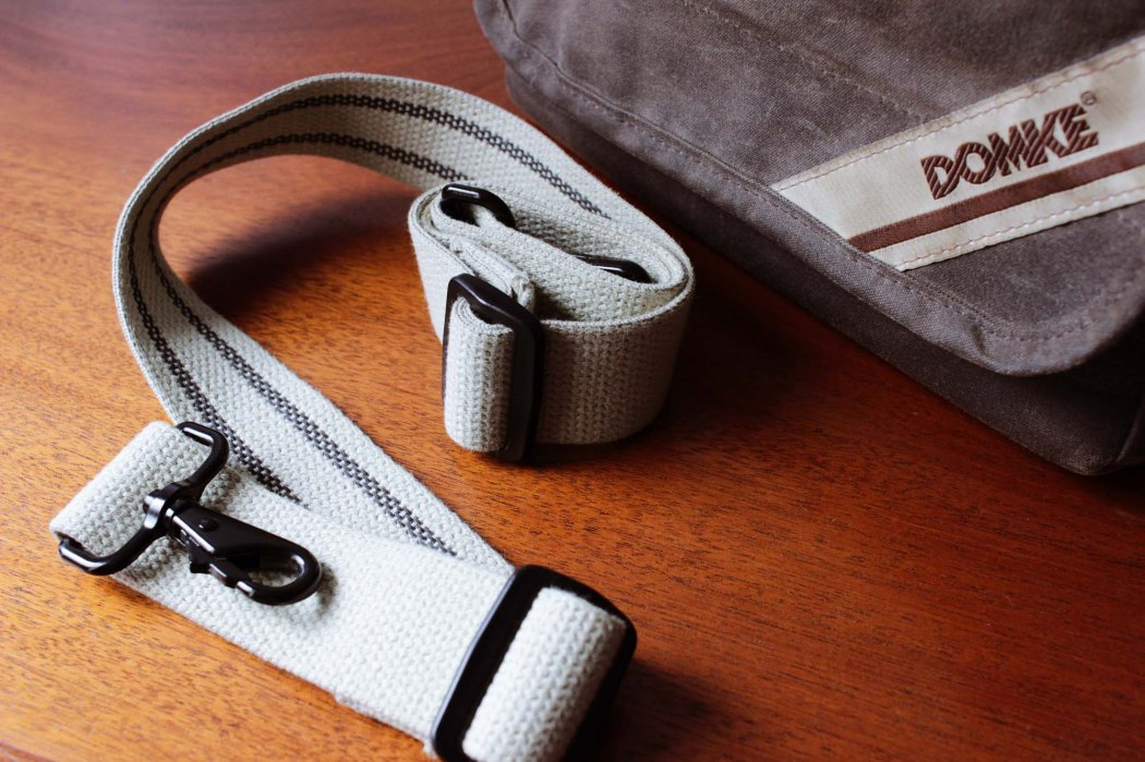 The strap has rubber woven in to prevent slips. Some times it works too well.